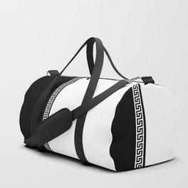 Greek Key 2 - White and Black Duffle Bag