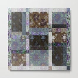 Lotus flower coffee brown and lavender blue stitched patchwork - woodblock print style pattern Metal Print