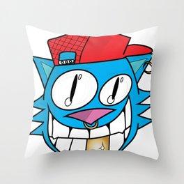Hipster Cat Face Throw Pillow