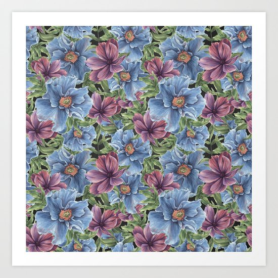 Hibiscus Flowers on Chalkboard Art Print