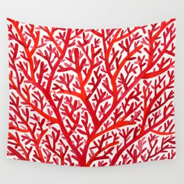 Red Fan Coral Wall Tapestry