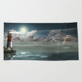 Lighthouse Under Back Light Beach Towel
