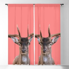 Reindeer Head - coral Background Blackout Curtain