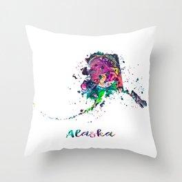 Alaska Map Throw Pillow
