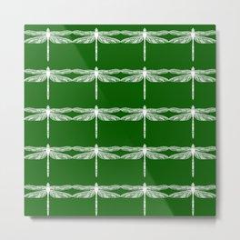 Green Dragonflies Metal Print