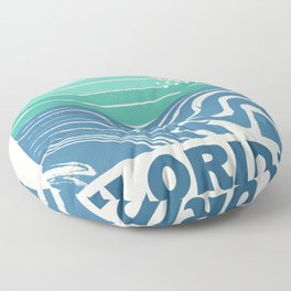 Florida - retro travel poster 70s throwback minimal ocean surfing vacation beach Floor Pillow