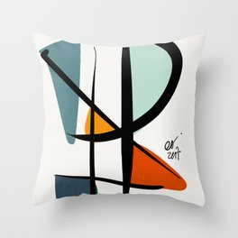 Abstract Minimal Lyrical Expressionism Art Blue Orange Throw Pillow