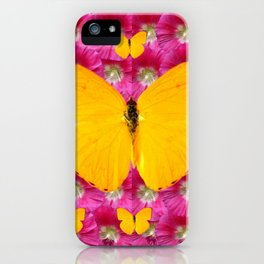 GOLDEN BUTTERFLIES ON FUCHSIA PINK iPhone Case