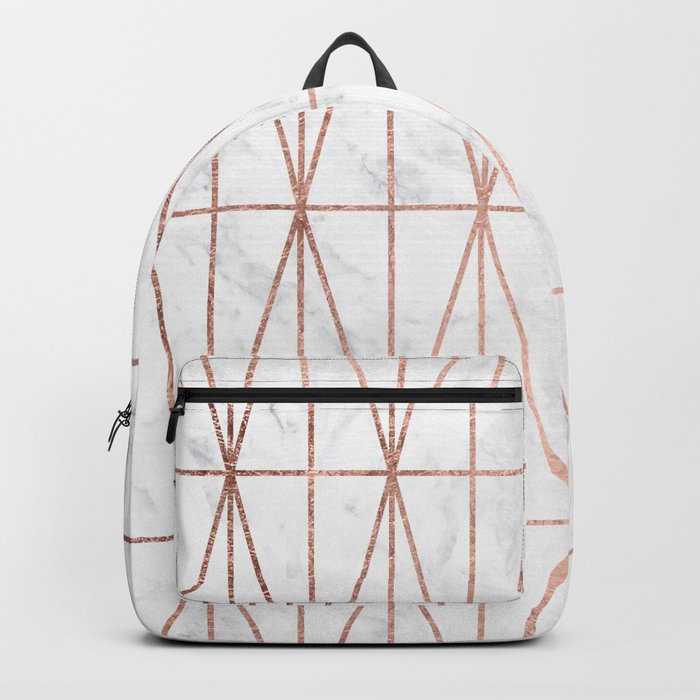 Modern geometric triangles faux rose gold pattern on white marble Backpack