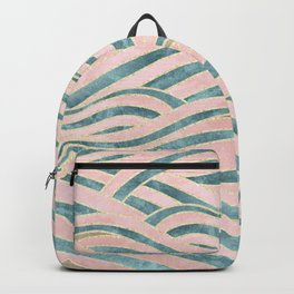 Venetian Waves // Vintage Abstract Pink Blue and Gold Summer Illustration Digital Beach Wall Decor Backpack
