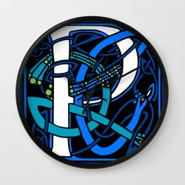 Celtic Peacock Letter P Wall Clock