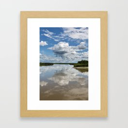 Summer landscape: view on river, beautiful clouds and reflection in water Framed Art Print