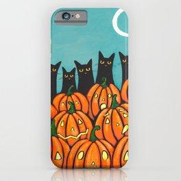 Five Black Cats and Pumpkins iPhone Case