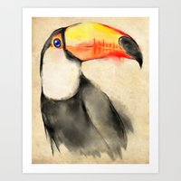 toucan Art Prints featuring Toucan by akaori_art