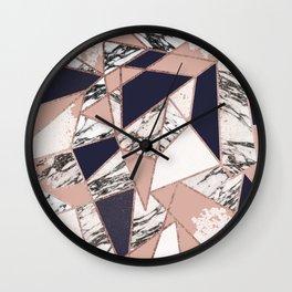 Geometric Navy Blue Peach Marble Rose Gold Triangle Wall Clock