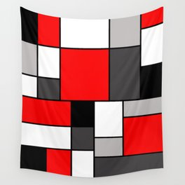 Red Black and Grey squares Wall Tapestry