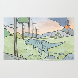 Tyrannsaurus Rex and Volcano Rug