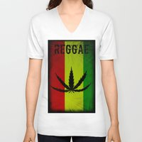 reggae V-neck T-shirts featuring REGGAE by shannon's art space