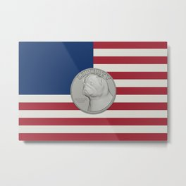 In Pug We Trust - Coin on USA flag Metal Print