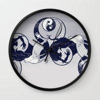 yin yang Wall Clocks featuring Yin & Yang by Charity Ryan