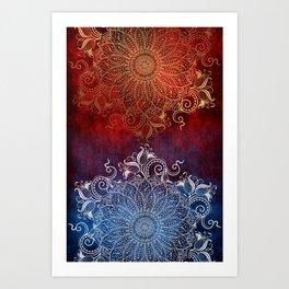 Mandala - Fire & Ice Art Print