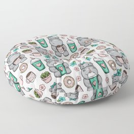 Hippo Friends, Little Hippo, Grey and Pink, Pink and Green, Donuts and Coffee, Cute Hippopotamus Floor Pillow