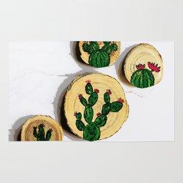 4 cactus wood disk painting Rug