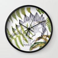 dinosaur Wall Clocks featuring Dinosaur by Monica Giraldi