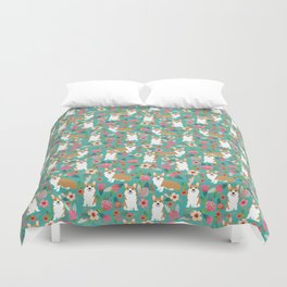 Corgi Florals - vintage corgi and florals gift gifts for dog lovers, corgi clothing,turquoise Duvet Cover