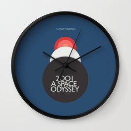2001 a Space Odyssey, Stanley Kubrick alternative movie poster, dark blue  classic film, cinema love Wall Clock
