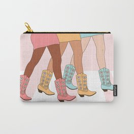Sisters With Western Rodeo Cowgirl Boots, Girls Walking, Friendship Art in Pastel Pink, Mustard and Blue Colors Carry-All Pouch