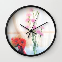pink flower and orange flower in the vase with curtain background Wall Clock