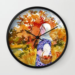 Heading to the Forest for Mushroom-Picking. Autumn Landscape. Girl's Portrait Wall Clock
