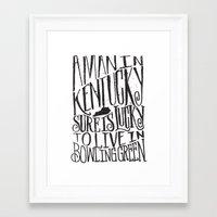 kentucky Framed Art Prints featuring KENTUCKY MAN by Matthew Taylor Wilson