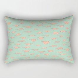Retro Mint Green Yellow Birds Pattern Rectangular Pillow