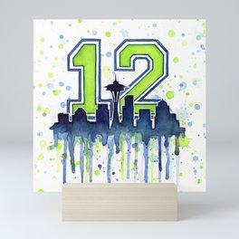 Seattle 12th Man Art Seattle Skyline Space Needle Mini Art Print