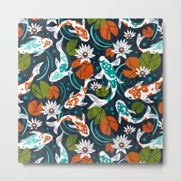 Koi Pond - Orange Metal Print