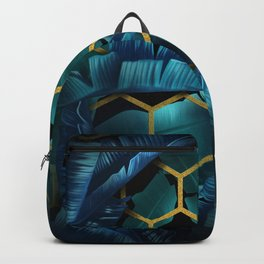 tropical banana leaves geometry Backpack