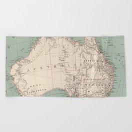 Vintage Topographic Map of Australia (1868) Beach Towel