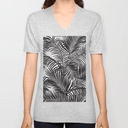 Modern black tropical palm trees pattern Unisex V-Neck