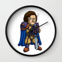 Angry man warrior cartoon Wall Clock