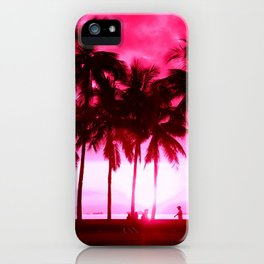 Pink Summer Palm Trees iPhone Case