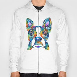 Colorful Boston Terrier Dog Pop Art - Sharon Cummings Hoody