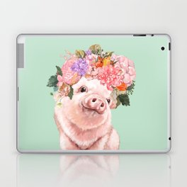 Baby Pig with Flowers Crown in Pastel Green Laptop & iPad Skin
