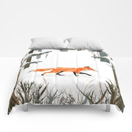 Fox In A Late Winter Snowfall Comforters