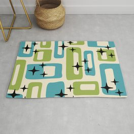 Retro Mid Century Modern Abstract Pattern 225 Blue and Green Rug