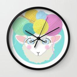 Sheepy Yarn Head Wall Clock