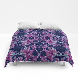Octopus purple blue dots Comforters