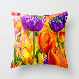 Colorful tulip flowers Throw Pillow