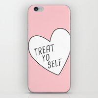treat yo self iPhone & iPod Skins featuring Treat Yo Self by Evelyne van den Broek